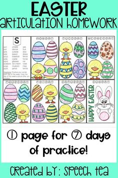 FUN homework activity for your students with articulation deficits. These homework sheets are one-page and last an entire week! Students will color daily pictures as they practice their speech sounds. These articulation homework sheets will make speech therapy homework FUN and these Easter activities are no-prep, print-n-go! Sounds include S, Z, SH, CH, TH, S blends, K, G, and more! Click for more info.