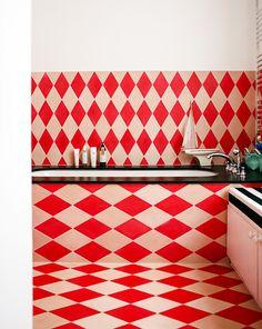 i do love a stripe — Jenny Andrews Anderson Gio Ponti, Red Interior Design, Interior Decorating, Red Interiors, Colorful Interiors, Maison Rabih Kayrouz, Bathroom Graffiti, Mid Century Credenza, Chevron Floor
