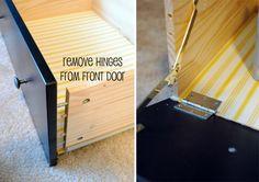 hide printer inside dresser drawer - how to make a hinged door
