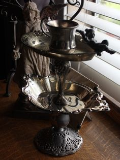 Jewelry Stand Vintage Silverplate Two Tier by BeautifulRuin