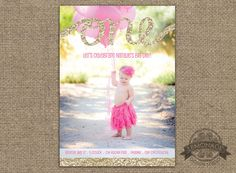 Gold Glitter One First Birthday Invitation - Any text, Any Colors - Girl First Birthday - Girly Birthday Party - Pink and Gold - Photo Invitation - Custom Design - Lemonade Design Studio