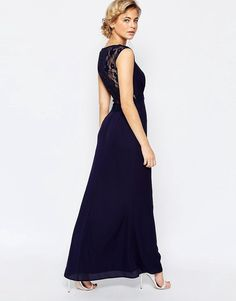 Seje Elise Ryan Maxi Dress With Lace Back Detail - Navy Elise Ryan Pencil Kjoler til Damer i dejlige materialer