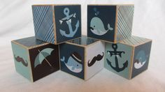 Nautical Whale Mustache Pirate Wood Blocks Personalized Nursery Room Decor Baby Shower Decoration  Building Toys