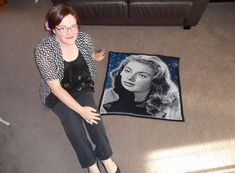 Ingrid Bergman crocheted portrait!  12 colours. 3mm hook. 18,900 single crochet stitches. I adore her <3!! x