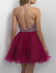 2ddaf307c66 Amazon.com  OYISHA Womens Backless Beaded Prom Dress 2016 Homecoming Dresses  Short 79HC Royal Blue 2  Clothing
