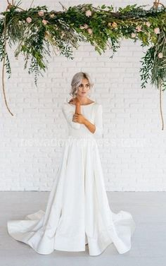 Modern Simple Long Sleeve A-Line Satin Wedding Dress With Open Back - Newadoring…