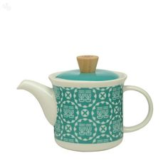 Buy Teal and White Teapot With Infuser Online India | Zansaar Dining Store