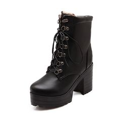AmoonyFashion Women's High-Heels Soft Material Low-top Solid Lace-up Boots * Want to know more, click on the image.