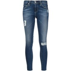 Ag Jeans ripped skinny jeans (37275 RSD) ❤ liked on Polyvore featuring jeans, pants, pants and shorts, blue, blue jeans, distressed skinny jeans, ag+adriano+goldschmied jeans, destructed jeans and distressing jeans