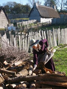 Gathering Wood, Plimoth Plantation, Plymouth, Massachusetts
