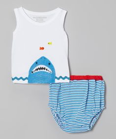Look at this White & Blue Stripe Tank Tee & Diaper Cover - Infant on #zulily today!