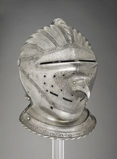 Close-helmet. Unknown Artist / Maker. Nuremberg, Germany c. 1530. Etched steel, copper alloy, leather and canvas. | The Wallace Collection