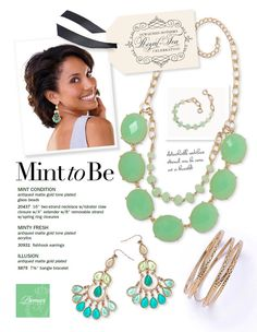 WOW! The MINT CONDITION necklace, the MINTY FRESH earrings, and the ILLUSION bracelet are a fabulous set!!