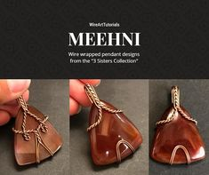 """TUTORIAL MEEHNI """"3 Sisters Collection"""" PDF pattern book,wire wrap weave jewelry,wrapping weaving,wrapped weaved,large,big pendant design"""