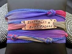 """SALE D2E adjustable hand dyed silk ribbon hammered hand stamped """"Sister.. Best Friend"""" on copper with decorative design stamped. by D2Egallery, $20.00"""