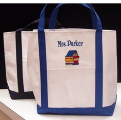 DEAL OF THE DAY Personalized Teacher Tote Bags.  Just $19.95.  Sale good til 6/3/2013.  Professional embroidery on a great quality tote bag!  Great teacher gifts.