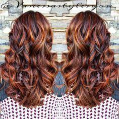 """Copper Highlighted Hotness from Hair Color Auburn, Auburn Hair, Copper Highlights On Brown Hair, Fall Hair Highlights, Burgundy Highlights, Hair Color And Cut, Hair Color Balayage, Copper Balayage, Dyed Hair"