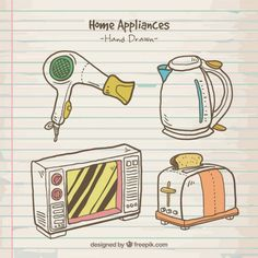 Sketches appliances with colors Free Vector