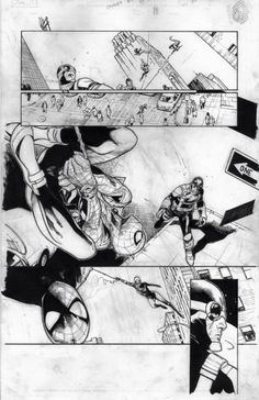Amazing Spider-Man interior art by Olivier Coipel Comic Book Layout, Comic Book Pages, Comic Book Artists, Comic Artist, Comic Books Art, Fun Comics, Manga Comics, Comics Spiderman, Comic Panels
