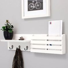Coat-Rack-Mail-Holder-Wall-Display-Shelf-Metal-Hooks-Keys-Letter-Organizer-Mount