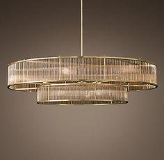 GH likes this one Round Chandelier, Modern Chandelier, Chandelier Lighting, Chandeliers, Interior Lighting, Home Lighting, Lighting Design, Red Lamp Shade, Custom Lighting