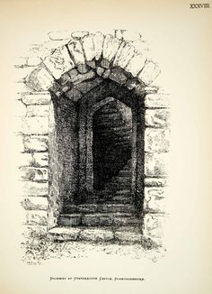 1886 Lithograph WR Goate Art Norman Doorway Oystermouth Castle Wales UK ZZ21