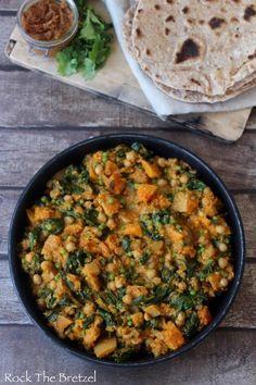 Curry de pois chiche et de courge Butternut, Chapati maison                                                                                                                                                                                 Plus