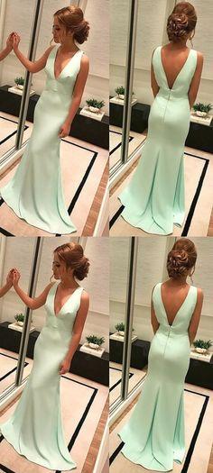 V-Neck Elegant Prom Dress,Long Prom Dresses,Prom Dresses,Evening Dress, Evening Dresses,Prom Gowns, Formal Women Dress P0511 #promdresses #longpromdresses #2018promdresses #fashionpromdresses #charmingpromdresses #2018newstyles #fashions #styles #hiprom #promdress #mintgreen