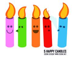 5 happy candles.  Ilustración para invitación de cumpleaños.