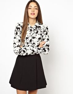 Image 1 of Monki Cat Print Blouse
