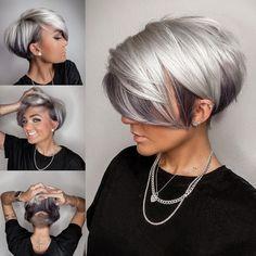 Metallic Hair Color, Hair Color Pink, Dark Silver Hair, Short Silver Hair, Short Hair Cuts For Women, Short Bob Cuts, Light Hair, Short Bob Hairstyles, New Short Haircuts