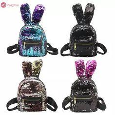 Mini Shining Sequins Backpack Rabbit Ear Shoulder Bags for Women Baby Girls  Travel Bag Bling Shiny Backpack Mochila Feminina 6b33fc5799