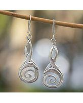 Sterling silver dangle earrings, 'Silver Swan' (Mexico)