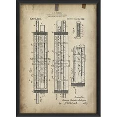 17 Stories 'Dobson Slide Rule Patent' Framed Graphic Art Print Matte Color: White Slide Rule, Pigment Ink, Cool Tools, Metal Wall Art, Graphic Art, Picture Frames, Canvas Art, Paper Crafts, Framed Prints