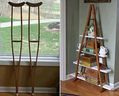 Once your bones have healed don't be so quick to toss your crutches. Or if you haven't broken your bones, try and track down a set of crutches because this shelf is so cool!