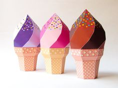 DIY icecream favor boxes - Set of 3, strawberry blueberry chocolate icecream printable template, Printable birthday summer party favor boxes by Paperica on Etsy