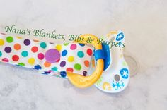 Pacifier Clip /White with Multi Colored Dots by NanasBlanketsBibs