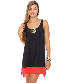 Tropicaliente Charcoal Grey Color Block Shift Dress