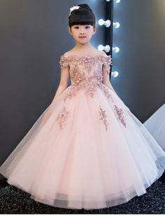 Cheap gowns for girls, Buy Quality birthday dress directly from China first birthday dress Suppliers: 2017 Glizt Girls Shoulderless Wedding Dress Bead Appliques Party Tulle Princess Birthday Dress First Communion Gown for Girls