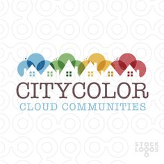Logo Sold colourful clouds merge together to create a row of homes. (