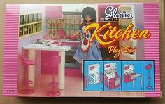GLORIA DOLLHOUSE FURNITURE SIZE KITCHEN w/Island + Stools PLAYSET FOR BARBIE