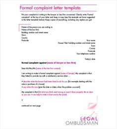 Formal complaint letter template httpresumesdesignformal formal complaint lettereg 585650 spiritdancerdesigns Image collections