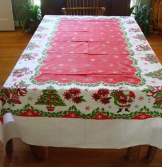 """Vintage Christmas Tablecloth No Tags Santa Candy Canes Bells Candles 54"""" x 97"""""""