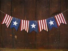 American Flag Banner, Patriotic Banner, Patriotic Bunting, 4th of July Banner Garland, Patriotic Decor, Burlap, Burlap Bunting Garland