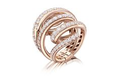 Ring featuring 87 diamonds totaling approximately 4.45 carats set in swirls of rose gold from de Grisogono's new Vortice collection.