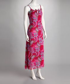 Take a look at this Hot Pink & Red Floral Maxi Dress by Papillon Imports on #zulily today!
