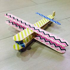 Airplane made from Popsicle sticks and Washi tapes