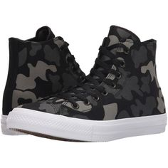 Converse Chuck Taylor All Star II Reflective Camo Americana Hi... ($80) ❤ liked on Polyvore featuring shoes, sneakers, converse sneakers, hi tops, black and white sneakers, lace up high top sneakers and camouflage sneakers