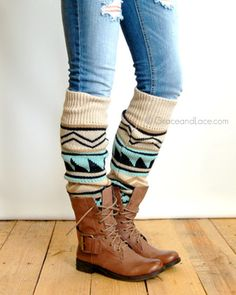 Grace and Lace Ladies Aztec Patterned Leg Warmers - Tan - ADULTS