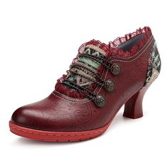 56e24419e2a Women Retro Classic Buckle Printing Splicing Mid Heel Leather Shoes